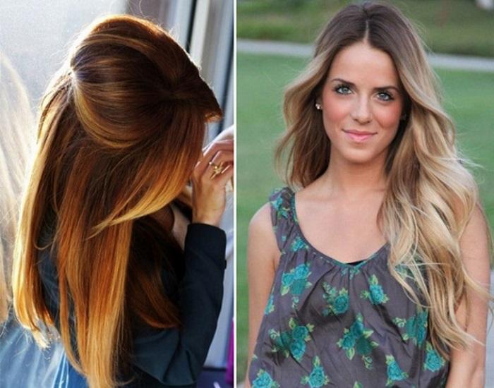 cabelos com ombre hair cacheados com luzes em morenas