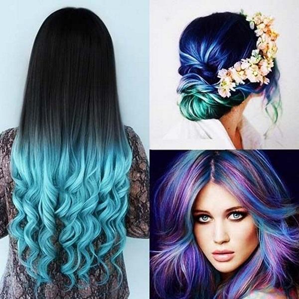 como pintar o cabelo de azul com anilina